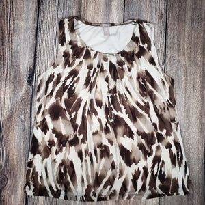 Chicos 2 brown exotic print tank top layered